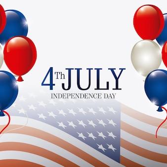 Szczęśliwy dzień niepodległości kartkę z życzeniami, 4 lipca, projekt usa