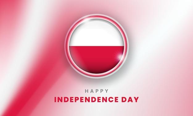 Szczęśliwy dzień niepodległości polski sztandar z polską flagą 3d koło