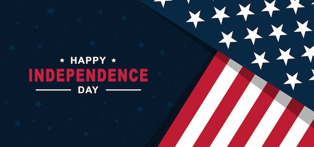 Szczęśliwy dzień niepodległości stanów zjednoczonych ameryki 4 lipca z amerykańską flagą
