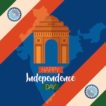 Szczęśliwy dzień niepodległości w indiach w stylu płaski