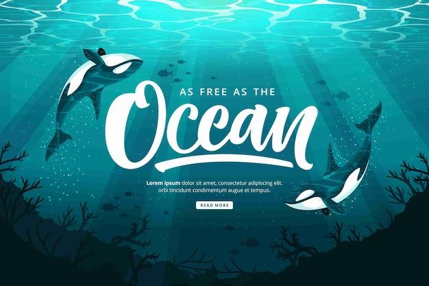 Szczęśliwy dzień oceanów tło
