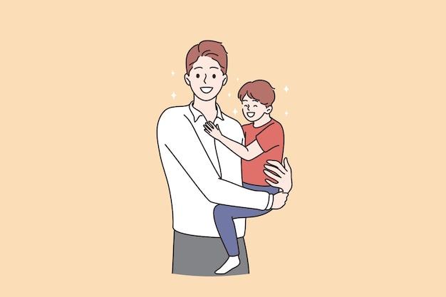 Szczęśliwy dzień ojca i koncepcja dzieciństwa