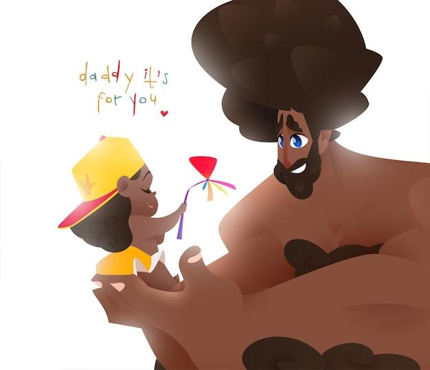 Szczęśliwy dzień ojca kartkę z życzeniami z ojcem, trzymając jej dziecko