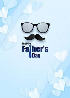 Szczęśliwy dzień ojca kartkę z życzeniami. zaprojektuj z sercem, krawatem i okularami