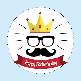 Szczęśliwy dzień ojca karty z wąsem