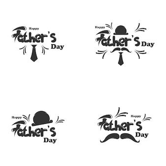 Szczęśliwy dzień ojca napis logo szablon projektu ilustracji wektorowych