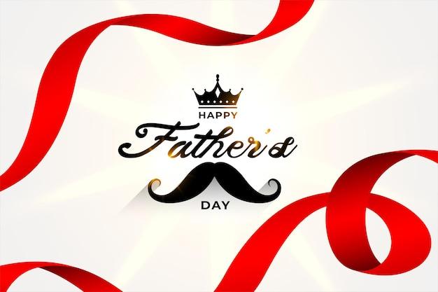 Szczęśliwy dzień ojca piękna kartka z życzeniami z czerwonymi wstążkami