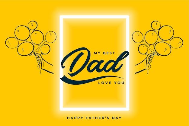 Szczęśliwy dzień ojca piękna żółta kartka z życzeniami