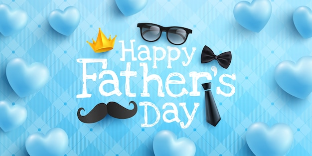 Szczęśliwy dzień ojca plakat lub szablon transparent krawat, okulary i serca na niebiesko