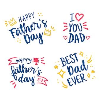 Szczęśliwy dzień ojca ręcznie rysowane zestaw liter