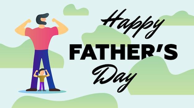 Szczęśliwy dzień ojca wakacje silny tata syn pokaż ramiona biceps mięśnie stoją khaki tło wektor