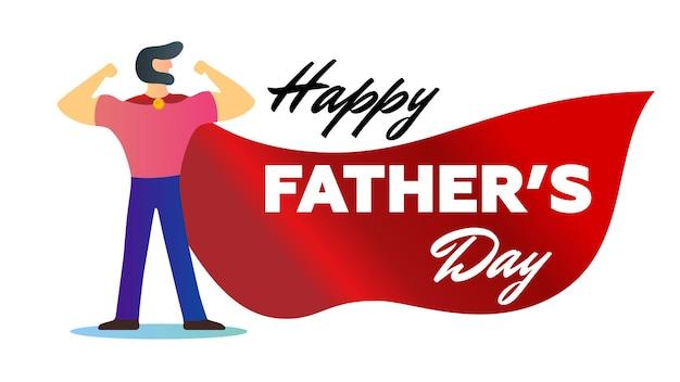 Szczęśliwy dzień ojca wakacje silny tata z brodą pokazują ramiona bicepsy mięśnie jak superbohater w czerwonej pelerynie