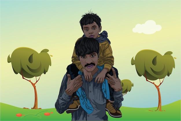 Szczęśliwy dzień ojca z synem jedzie ramię ojca
