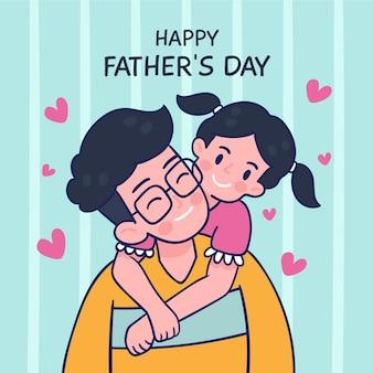 Szczęśliwy dzień ojca z tatą i córką