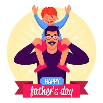 Szczęśliwy dzień ojca z tatą i dzieckiem