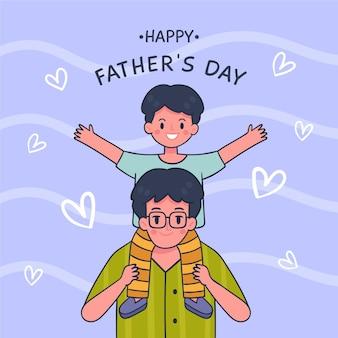 Szczęśliwy dzień ojca z tatą i synem