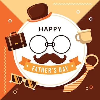 Szczęśliwy dzień ojca z wąsami i okularami