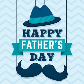Szczęśliwy dzień ojca z wąsem i kapeluszem