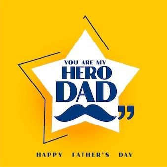 Szczęśliwy dzień ojca żółta gwiazda projekt kartki z życzeniami