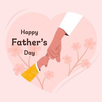 Szczęśliwy dzień ojców kartkę z życzeniami z sercem i dzieckiem i ojcem, trzymając się za rękę