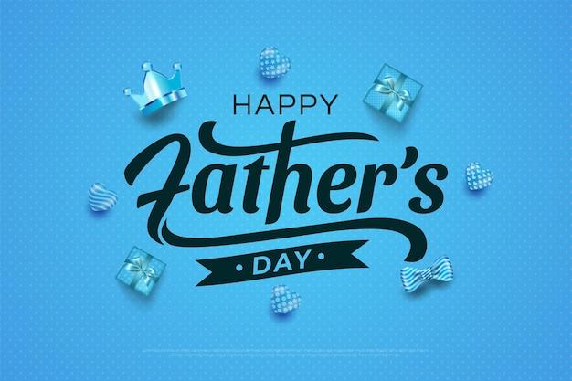 Szczęśliwy dzień ojców korona, pudełko prezent, muszki i ilustracje balonów serca w kolorze niebieskim.