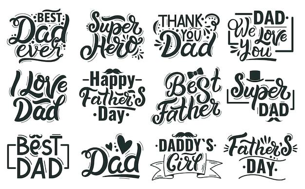 Szczęśliwy dzień ojców napis. ręcznie rysowane napisy cytaty, najlepsze zwroty kaligrafii taty. zestaw ilustracji odręczny napis dzień ojców. gratulacje dla tatusia