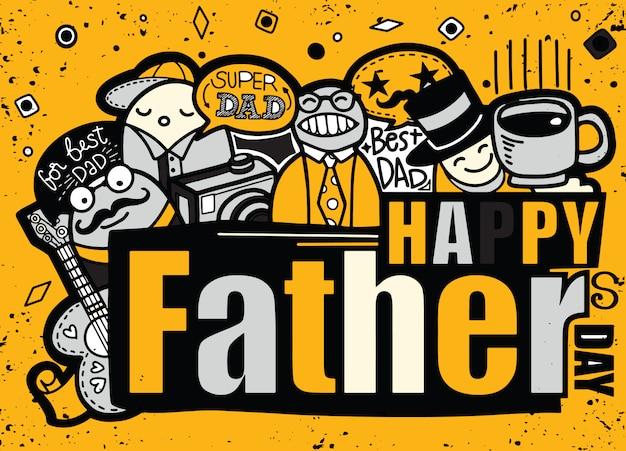 Szczęśliwy dzień ojców ręcznie rysowane ilustracja z tekstem.