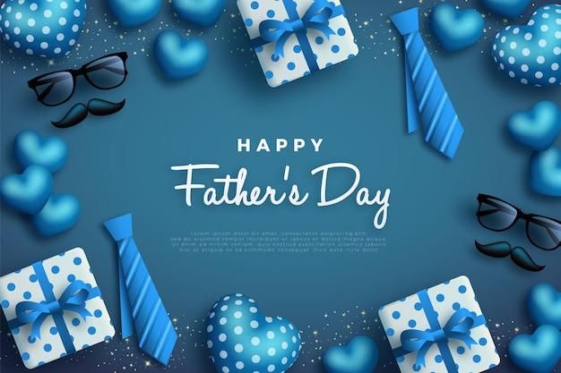 Szczęśliwy dzień ojców z krawatem i pudełkiem prezentowym.