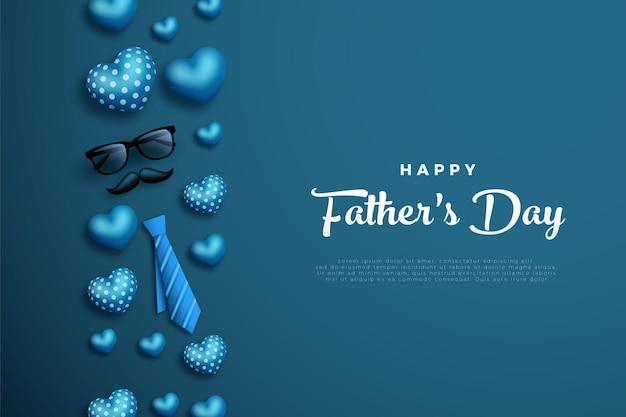 Szczęśliwy dzień ojców z miłosnym balonem po lewej stronie napisu.