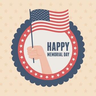 Szczęśliwy dzień pamięci, ręka odznaka z flagą insygnia amerykańskie święto