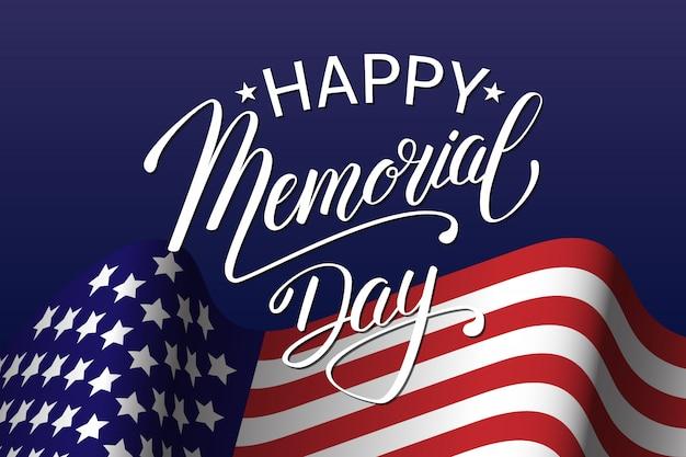Szczęśliwy dzień pamięci tło z flagą usa, strony napis. ilustracja amerykańskie święto narodowe