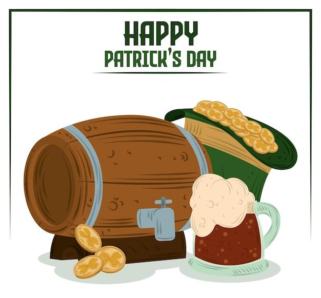 Szczęśliwy dzień patryka tło z piwem, beczką, kubkiem, kapeluszem z monetami