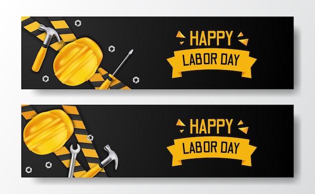 Szczęśliwy dzień pracy. 3d żółty kask bezpieczeństwa i młotek, śrubokręt, klucz i żółta linia. szablon ulotki transparentu