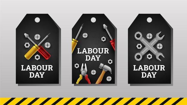 Szczęśliwy dzień pracy etykiety z żółtym paskiem i narzędziami