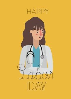Szczęśliwy dzień pracy karty z lekarzem kobieta