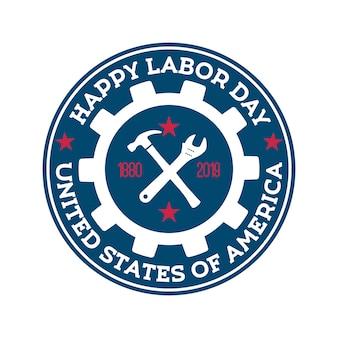 Szczęśliwy dzień pracy okrągły niebieski znaczek.