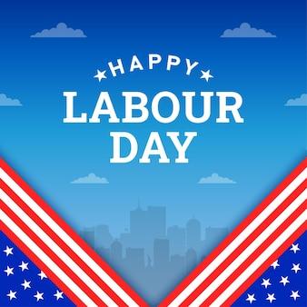 Szczęśliwy dzień pracy tło z amerykańską flagą żółty pasek i narzędzia