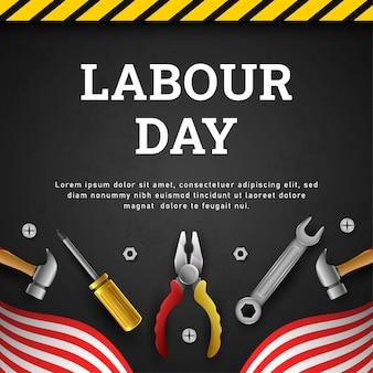 Szczęśliwy dzień pracy tło z żółtym paskiem i narzędziami