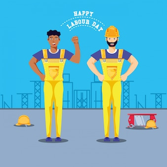 Szczęśliwy dzień pracy z pracownikami budowlanymi