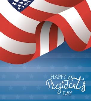 Szczęśliwy dzień prezydentów plakat z flagą usa