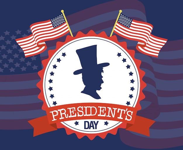 Szczęśliwy dzień prezydentów z flagami i profilem