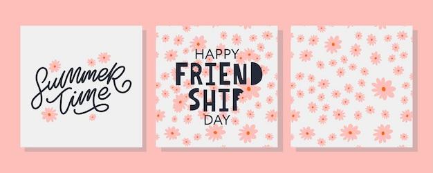 Szczęśliwy dzień przyjaźni kartkę z życzeniami. na plakat, ulotkę, baner na szablon strony internetowej, karty, plakaty, logo. ilustracja wektorowa.