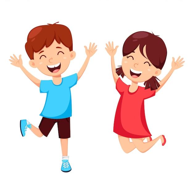 Szczęśliwy dzień przyjaźni koncepcja, chłopiec i dziewczynka