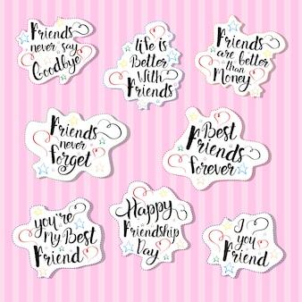 Szczęśliwy dzień przyjaźni logo zestaw kart okolicznościowych kolekcja przyjaciół wakacje transparent