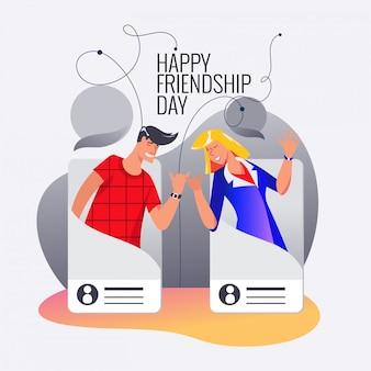 Szczęśliwy dzień przyjaźni, przyjaciele z sieci społecznościowych