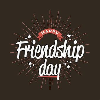 Szczęśliwy dzień przyjaźni - szablon karty z pozdrowieniami, logo, plakat, baner. ilustracja wektorowa.