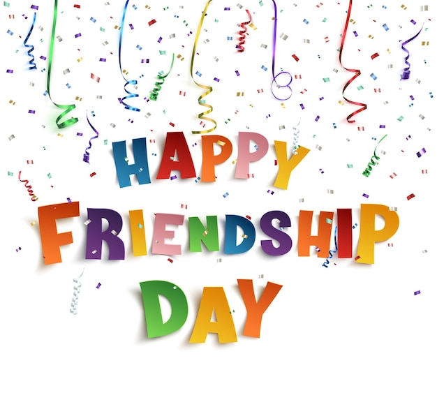 Szczęśliwy dzień przyjaźni z wstążkami i konfetti.