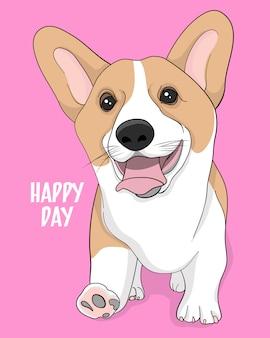 Szczęśliwy dzień, ręcznie rysowane ilustracja ładny corgi