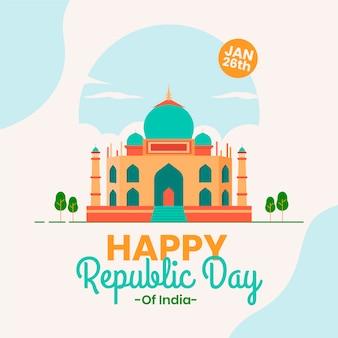 Szczęśliwy dzień republiki indii w płaskiej konstrukcji