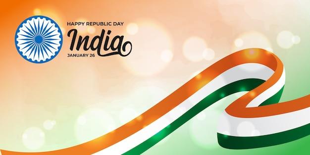 Szczęśliwy dzień republiki indyjskiej z trójkolorową flagą